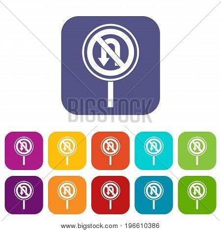 No U turn road sign icons set vector illustration in flat style in colors red, blue, green, and other