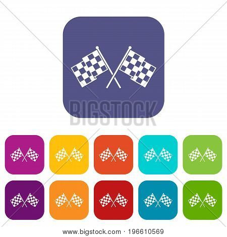 Checkered racing flags icons set vector illustration in flat style in colors red, blue, green, and other