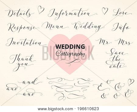 Wedding hand written custom calligraphy. Save the date, love, thank you, menu words. Ampersands and catchwords. Great for wedding invitations, cards, photo overlays.