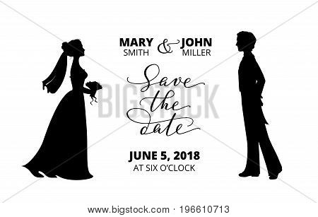 Save the date card.  Bride and groom silhouettes and hand written custom calligraphy isolated on white. Wedding invitation template. Free font used - Open Sans.