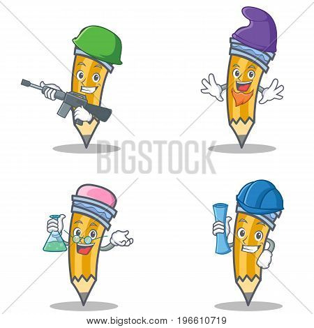 Set of pencil character with army elf professor architect vector illustration