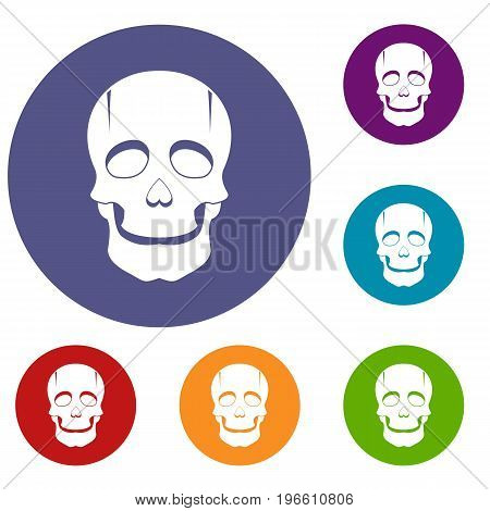 Singer mask icons set in flat circle red, blue and green color for web