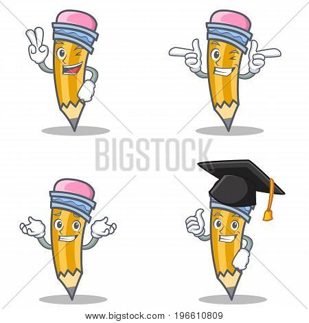 Set of pencil character with two finger wink graduation vector illustration