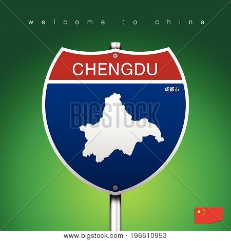 An Sign Road America Style with state of China with green background and message CHENGDU and map vector art image illustration