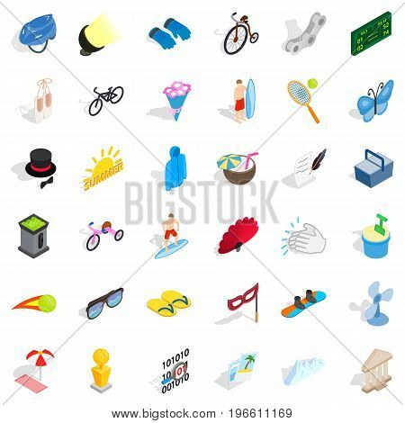 Summer amusement icons set. Isometric style of 36 summer amusement vector icons for web isolated on white background