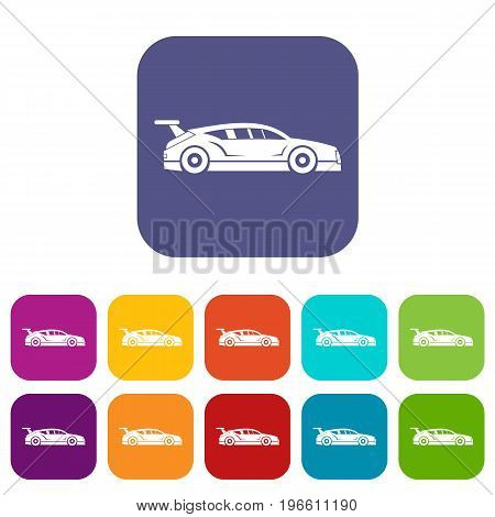 Rally racing car icons set vector illustration in flat style in colors red, blue, green, and other