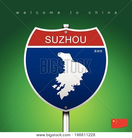 An Sign Road America Style with state of China with green background and message SUZHOU and map vector art image illustration