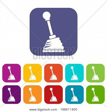 Gear stick icons set vector illustration in flat style in colors red, blue, green, and other