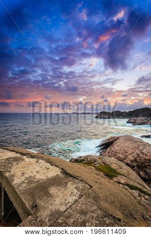 Coastline At Sunset In Norway