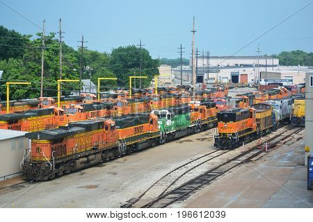 TOPEKA KS USA - June 1 2017: The Burlington Northern Santa Fe Railway shops in Topeka Kansas are a locomotive maintenance hub for the railroad which was originally founded in the city in 1859.