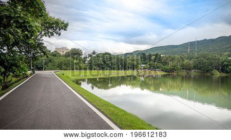 The road along the reservoir in Chiang Mai UniversityThailand.