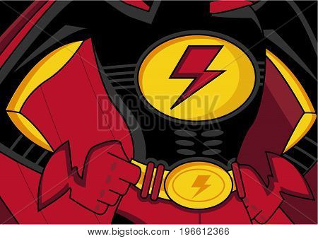 Cartoon Heroic Superhero Crime Fighter with Lightning Bolt Logo