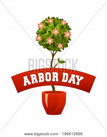 Vector illustration of a seedling in a pot isolated on a white background for the holiday of a tree planting day