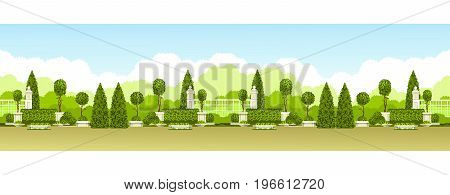 Vector illustration seamless pattern panoramic view of public praka with a hedge of topiary trees and a place for relaxation