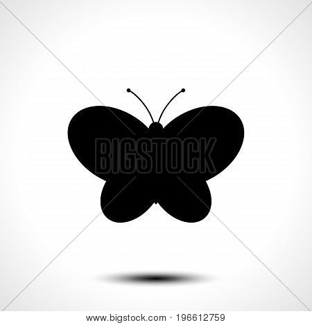 Butterfly icon, Butterfly silhouette on white background