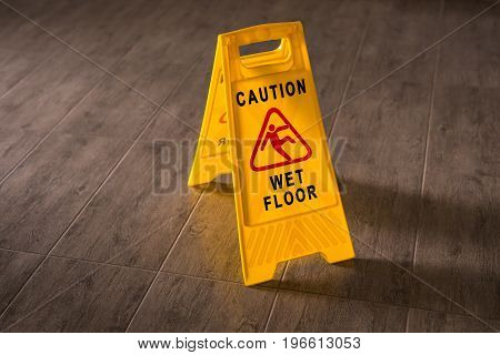 Yellow Wet Floor Sign. Caution wet floor and slippery surface sign