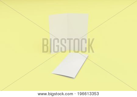 Blank White Two Fold Brochure Mockup On Yellow Background