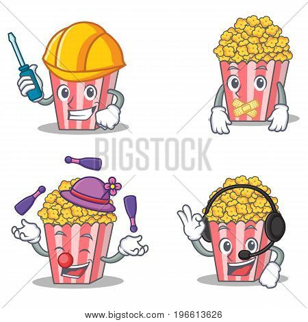 Set of Popcorn character with automotive silent juggling headphone vector illustration
