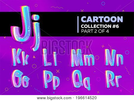 Children's Comic Vector Font in Cartoon Style. Bright and Colorful 3D Letters. School Funny English Alphabet Illustration on Violet Background with Memphis Pattern.
