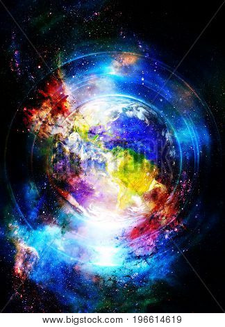 Planet Earth in light circle, Cosmic Space background