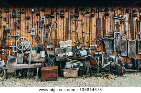 Collection of aged vintage tools and accessories. Retro household goods