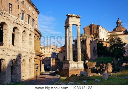 Theatre with historical ruins in Rome, Italy
