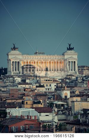 Monumento Nazionale a Vittorio Emanuele II as the famouse landmark historic architecture in Rome Italy at dusk