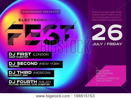 Bright Festival Poster. Electronic Music Cover for Summer DJ Fest or Club Party Flyer. Vibrant Fluid Background. Creative Colorful Concept. Techno Dub Dubstep Trance Psy House.