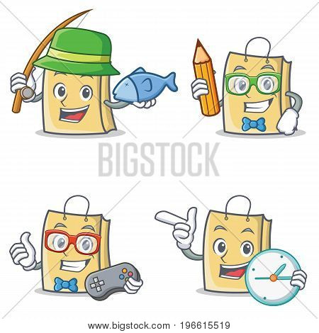 Set of bag character with fishing student gamer clock vector illustration