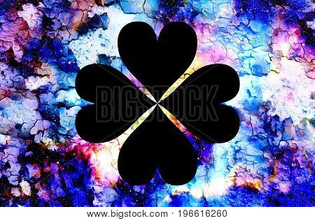 four-leaf clover from heart and color cosmic abstract background and crackle effect