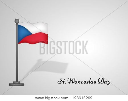 illustration of Czech Republic flag with St. Wenceslas Day text on the occasion of St. Wenceslas Day. St. Wenceslas Day is the feast day of St. Wenceslas, the patron saint of Bohemia, and commemorates his death in 935. Celebrated as national day in Czech