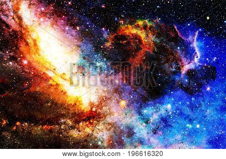 Cosmic galaxy and stars, color cosmic abstract background