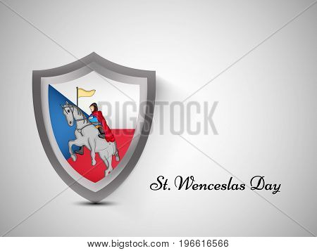 illustration of shield in Czech Republic map background and saint wenceslas on horse with St. Wenceslas Day text on the occasion of St. Wenceslas Day. St. Wenceslas Day is the feast day of St. Wenceslas, the patron saint of Bohemia, and commemorates his d