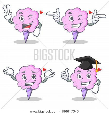 Cotton candy character set with two finger wink graduation vector illustration