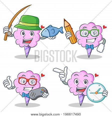 Cotton candy character set with fishing student gamer clock vector illustration