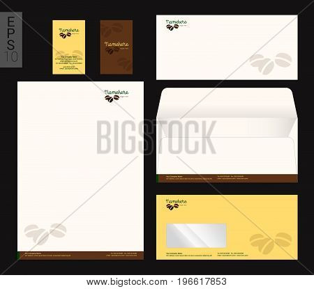 Modern stationery set in vector format letterhead business card envelope coffee theme