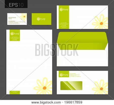 Modern stationery set in vector format letterhead business card envelope floral theme