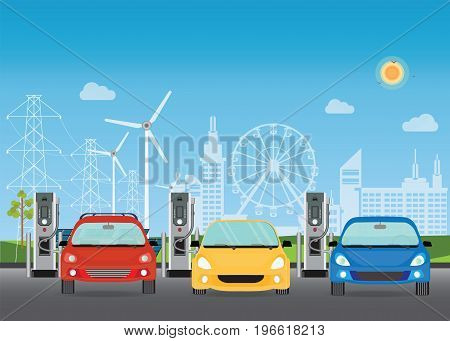 Electric cars charging at the charger station the solar panels and wind turbines on City building skyline backgroundEco green city theme conceptual vector illustration.