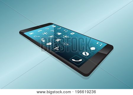 Minimalist smartphone with the screen, disappearing into the depths, virtual reality vector illustration is ordered by layers