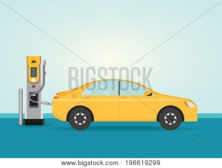Electric cars charging at the charger station Electromobility e-motion concept conceptual vector illustration.
