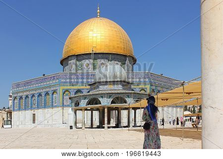 JERUSALEM, ISRAEL - June 15, 2017: mosque Dome of the Rock and Dome of the Chain at Temple Mount, Old City of Jerusalem, Israel