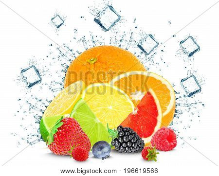 citrus splash water, berries and ice cubes isolated