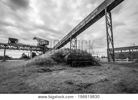 PEENEMUENDE GERMANY - JULY 18 2017: Territory of the Army Research Center. Black and white. During the World War II the area was highly involved in the development and production of the V-2 rocket.
