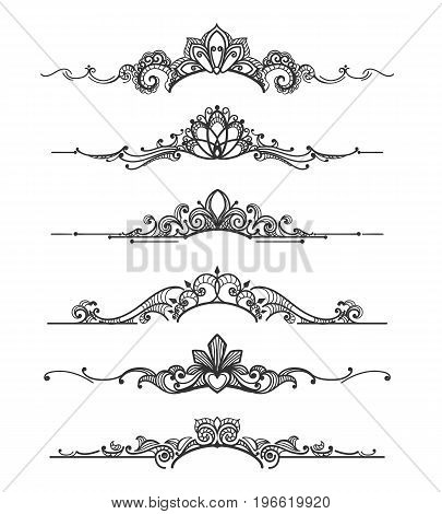 Floral design crown vector photo free trial bigstock floral design crown calligraphic elements linear royal tiara curly vector dividers for elegant wedding flourish stopboris Image collections