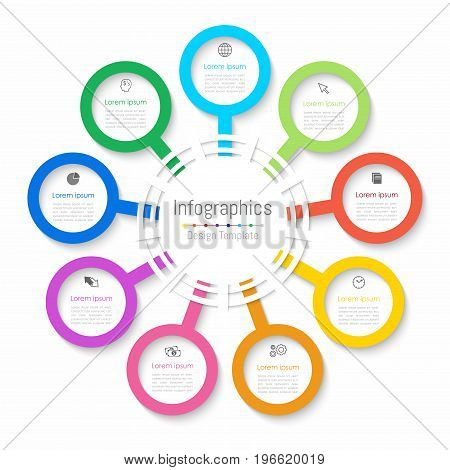 Infographic design elements for your business data with 9 options parts steps timelines or processes. Paper style Vector Illustration.