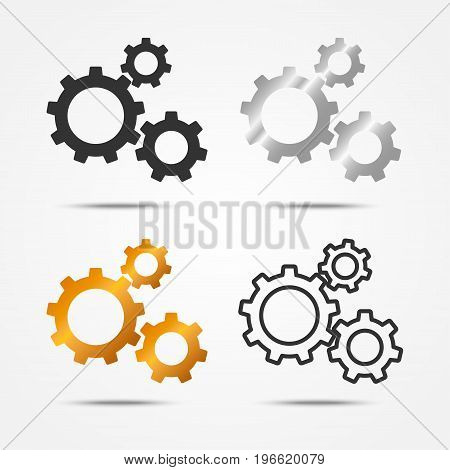 Set of black gray silver and gold 3 gears or cogs sign simple icon with shadow on white background wheel concept. Vector illustration