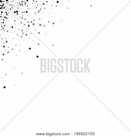 Dense Black Dots. Left Right Corner With Dense Black Dots On White Background. Vector Illustration.