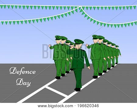 illustration of soldiers saluting and decoration with defence Day text on the occasion of Pakistan defence day