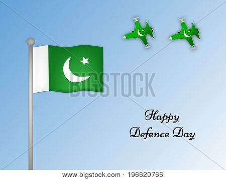 illustration of Pakistan flag and aircrafts with Happy defence Day text on the occasion of Pakistan defence day