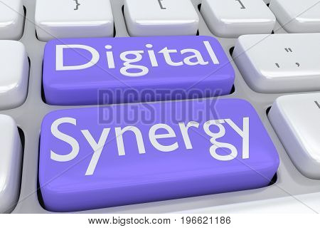 "3D illustration of computer keyboard with the script ""Digital Synergy"" on two adjacent violet buttons poster"